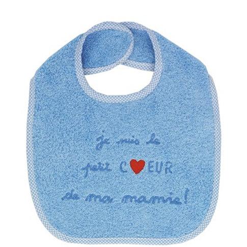 Bavoir éponge bleu, je suis le petit coeur de ma mamie, cadeau naissance