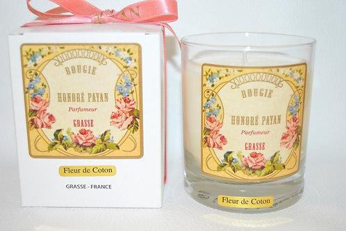 Bougie parfumée artisanale, Fleur de coton, 250 ml, Parfum de Grasse, cire de soja