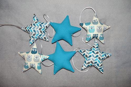 Guirlande de 6 étoiles en tissu de couleur bleu, motifs hiboux / chouettes