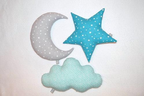 ensemble de 3 coussins, lune, nuage, étoile, décoration chambre de bébé