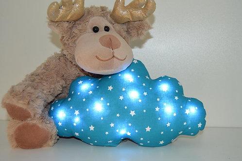 Coussin nuage lumineux, bleu avec des étoiles blanches,  fait main
