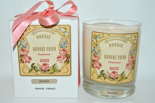 Bougie parfumée artisanale, Jasmin, 250 ml, Parfum de Grasse, cire de soja