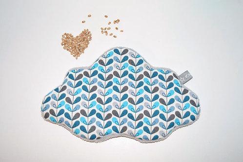 Bouillotte sèche bébé enfant,  grain de blé bio, nuage bleu
