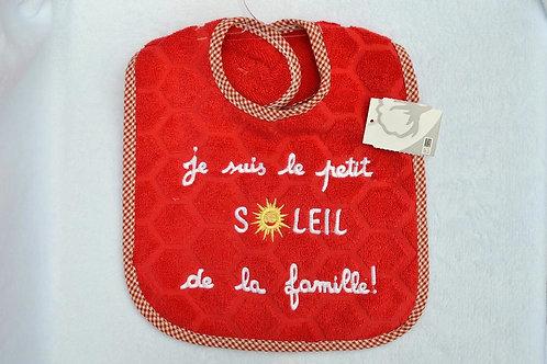 """Bavoir bébé enfant message """"Je suis le petit soleil de la famille"""", tissu éponge rouge"""