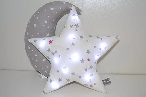 coussin étoile lumineuse, veilleuse à leds, bébé enfants, fait main