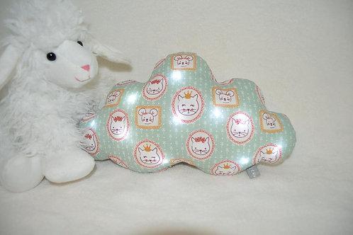 veilleuse bébé, coussin nuage lumineux, motifs chats