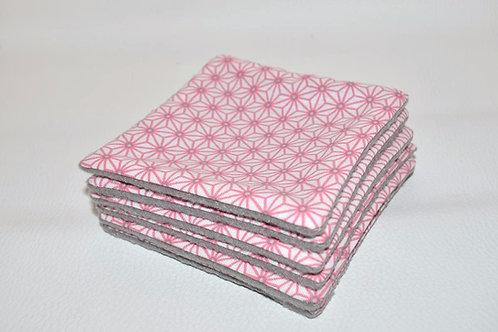 Lingettes demaquillante lavables coton rose gris