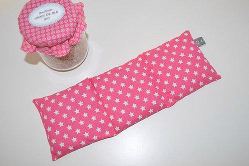 Bouillotte sèche - blé bio - tissu coton rose avec des étoiles blanches