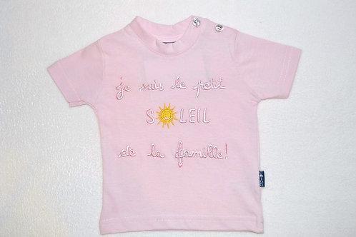 Tee shirt bébé humour, message, 6 mois, Je suis le petit soleil de la famille, rose, bébé fille