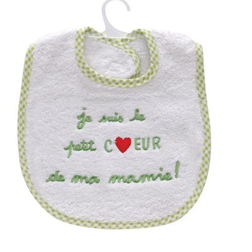 Bavoir message, message je suis le petit coeur de ma mamie, cadeau de naissance original