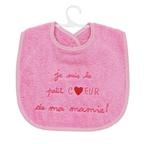 Bavoir bébé, message brodé, je suis le petit coeur de ma mamie, cadeau naissance fille