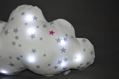 Coussin nuage lumineux, veilleuse bébé et enfants originale, blanc gris et rose