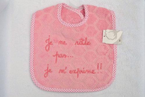 Bavoir message humour, je ne râle pas je m'exprime, cadeau bébé fille
