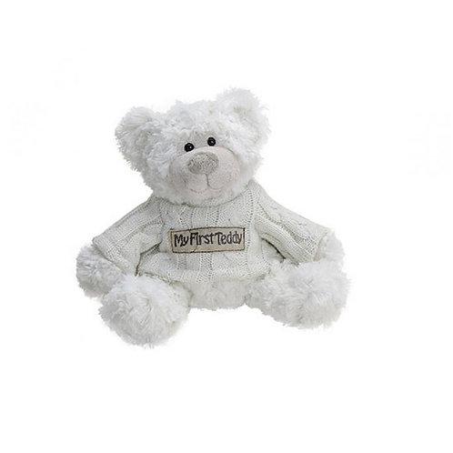 Peluche ours blanc, my first teddy, cadeau naissance, doudou bébé