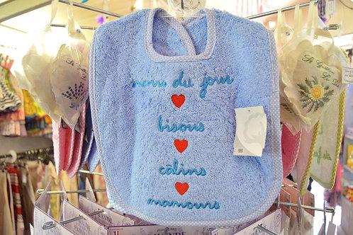 Bavoir bébé garçon, cadeau de naissance original, bavoir éponge bleu