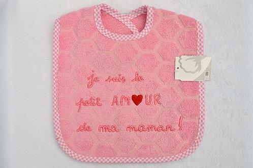 Bavoir bébé message je suis le petit amour de ma maman, cadeau naissance fille