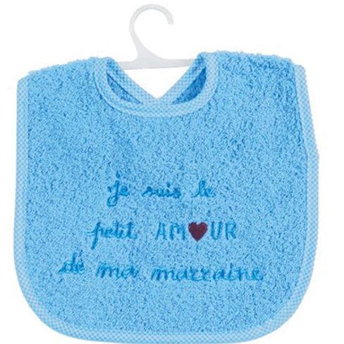 Bavoir bébé message je suis le petit amour de ma marraine, cadeau naissance garçon