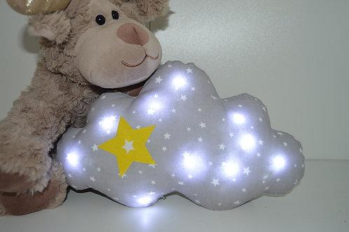 coussin veilleuse nuage, bébé enfant gris étoile jaune, fait main