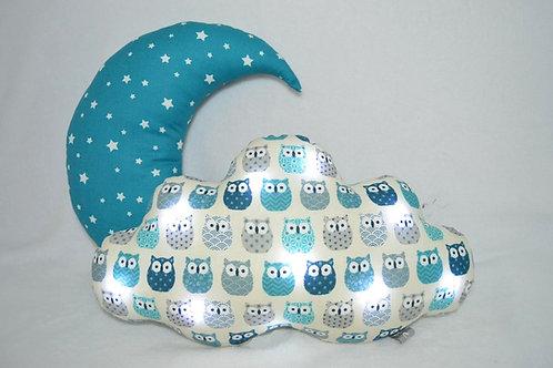 Coussin lune coussin nuage lumineux motifs chouettes hiboux bleu fabriqué en France