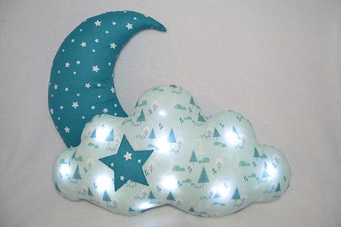 Coussin lune coussin nuage lumineux lampe à leds fabriqué en France