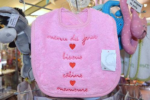 Bavoir bébé humour message, rose cadeau de naissance original