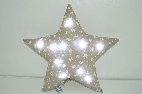 Veilleuse étoile à leds,  coussin lumineux motifs flocons de neige