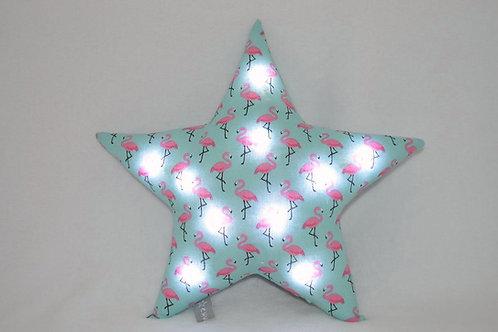 Coussin étoile lumineux à leds, veilleuse déco enfants, flamants roses