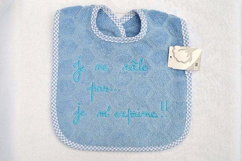 Bavoir bébé message humour, je ne râle pas je m'exprime, cadeau bébé garçon