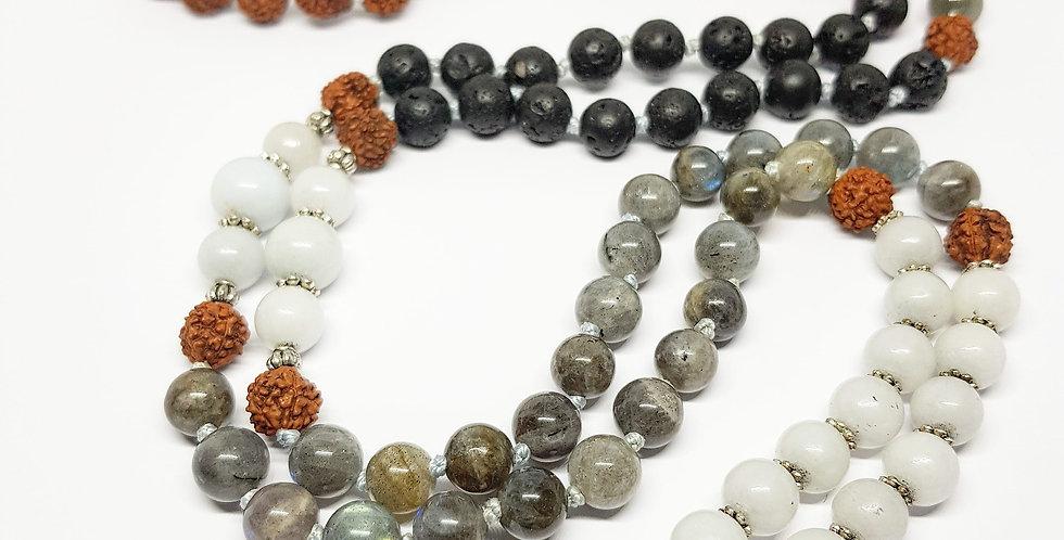 Labradorite, Aquamarine, Lava & Rudraksha