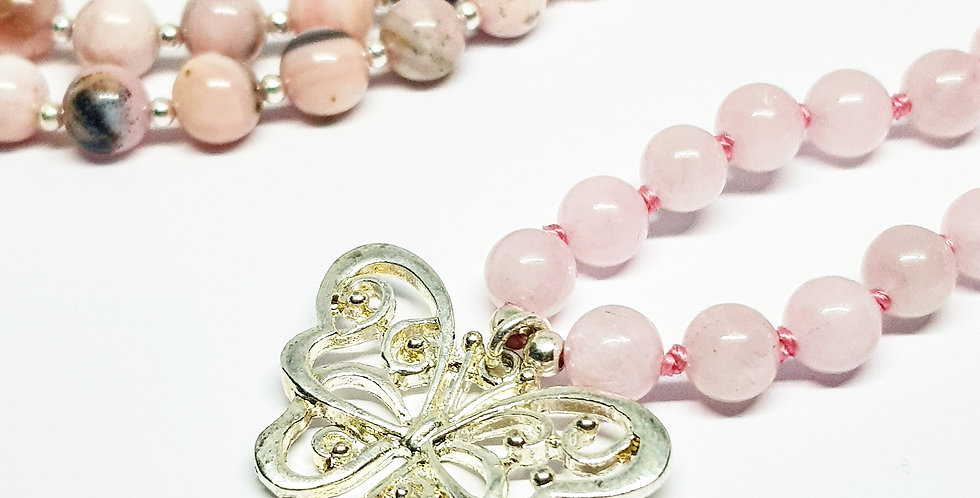 Butterfly ~ Pink Opal & Rose Quartz