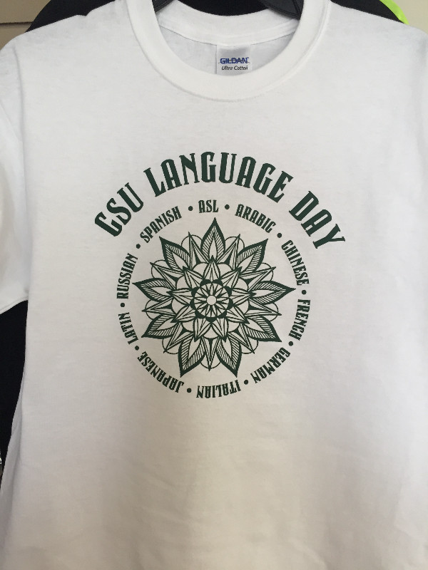 Colorado State University had some custom t-shirts screen printed for Language Day