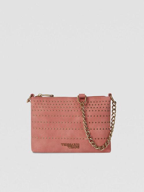 Clutch Anita con borchie corallo