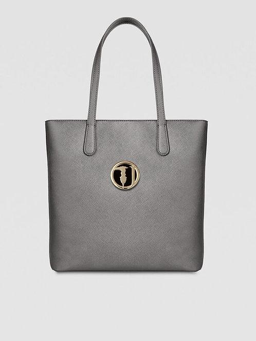 Borsa Trussardi Shopping Bag Sophie medium saffiano grigio