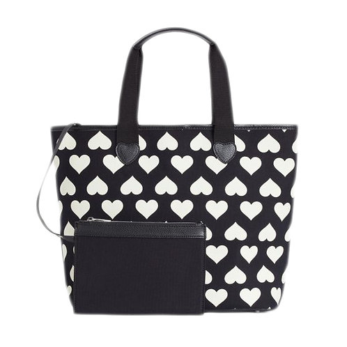 Borsa AS8PNA bicolor nero/ stampa cuori