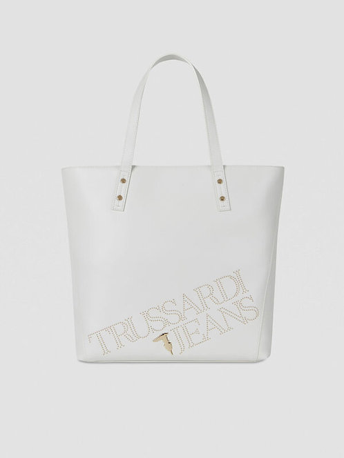 Shopper large con borchie white