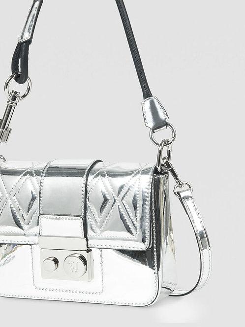 Borsa whit love medium matelassé silver