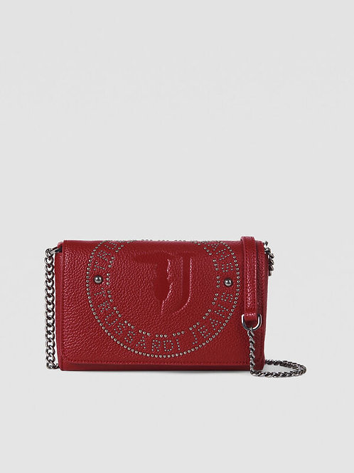 Pochette Harper con borchie rosso scuro