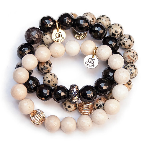 LUCY• FACETED ONYX • FACETED JASPER • RIVERSTONE • 10MM • 12MM