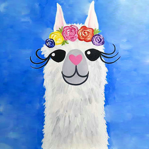 Llama Flower Crown Canvas