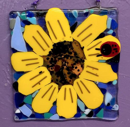 Sunflower/ Ladybug Glass