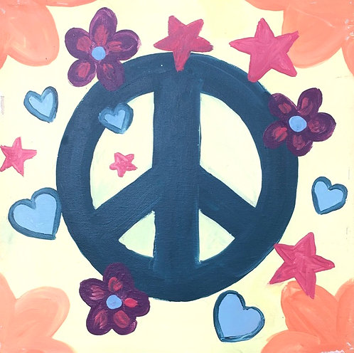 Peace Sign with FlowersCanvas
