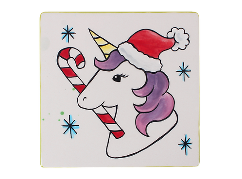 Prelined Unicorn Santa Tile