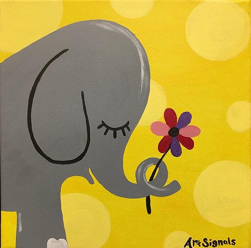 Elephant Holding Flower Canvas