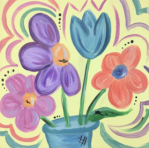 Flowers in Pot Canvas
