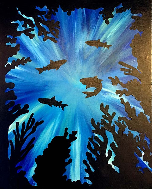 Large Underwater Silhouette Canvas