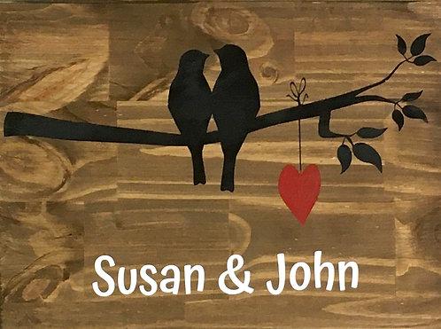 Love Birds on Branch w/ Names Board Art
