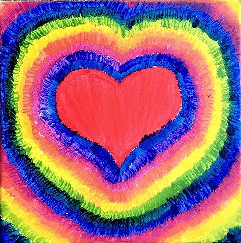 Tie Dye Heart Canvas