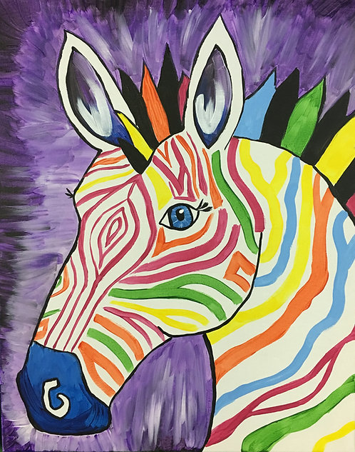 Large Colorful Zebra Canvas
