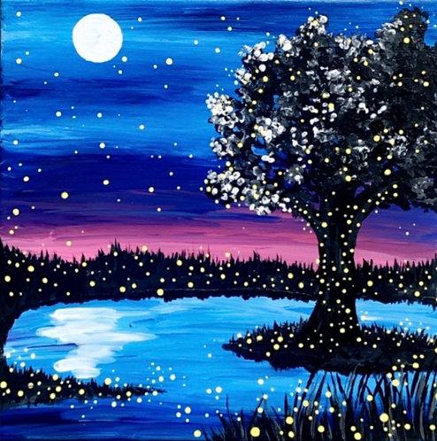 Tree in Moonlight Canvas