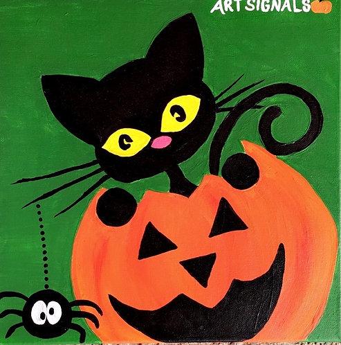Cat in Jack O Lantern Canvas